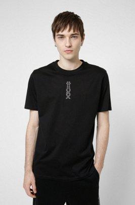 Cropped-logo T-shirt in organic cotton, Black