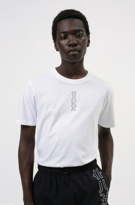 Cropped-logo T-shirt in organic cotton, White