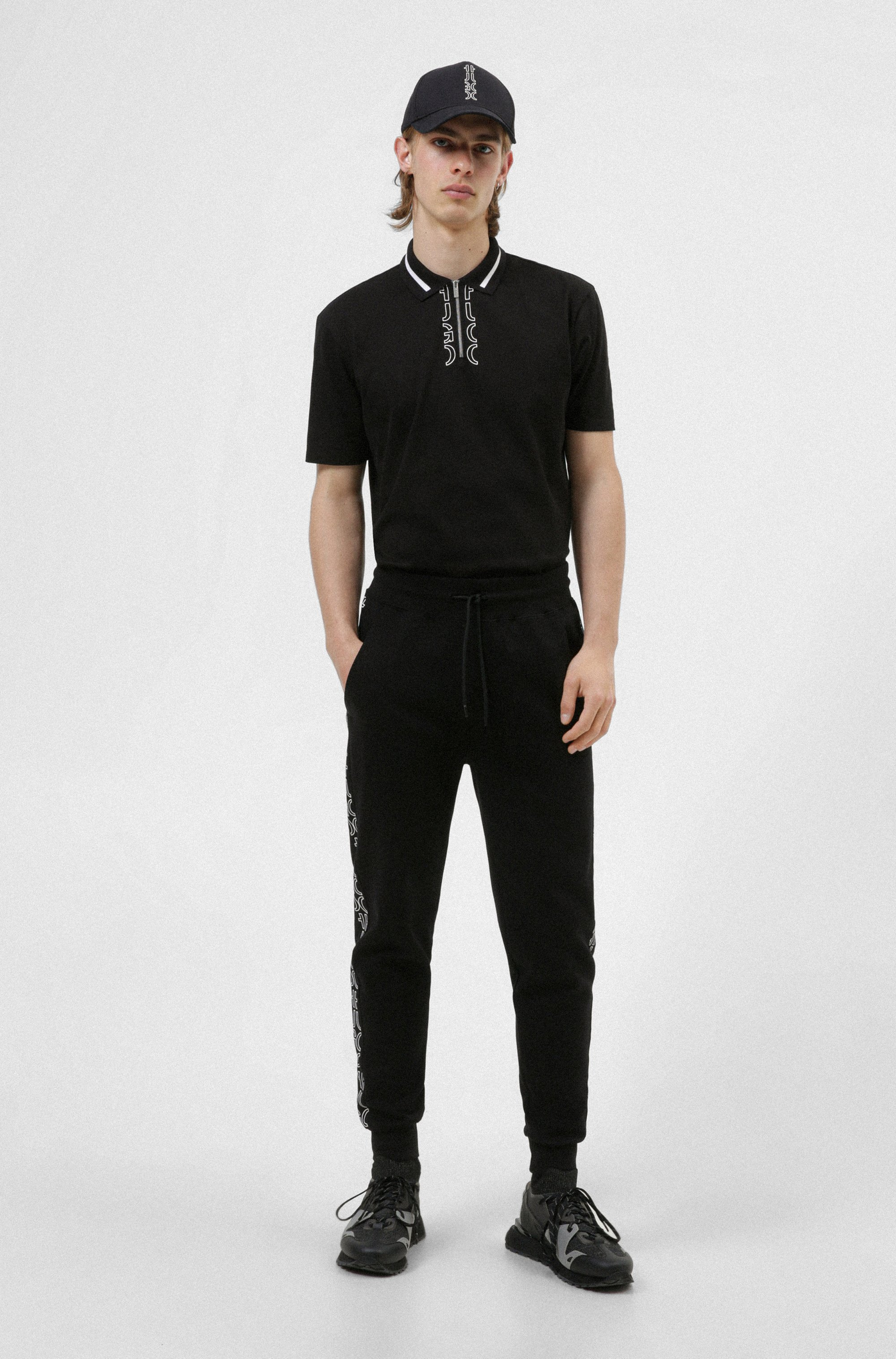 Zip-neck cotton polo shirt with cropped-logo placket