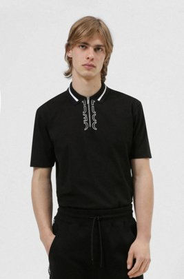 Zip-neck cotton polo shirt with cropped-logo placket, Black