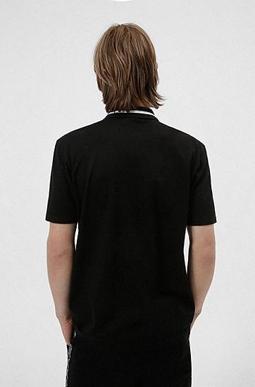 裁切徽标门襟拉链领棉质 Polo 衫,  001_Black