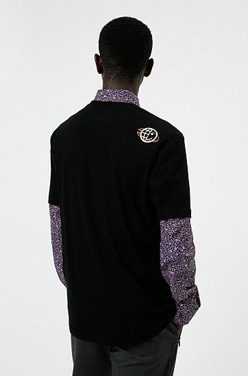 徽标装饰花卉印花中性 T 恤,  001_Black