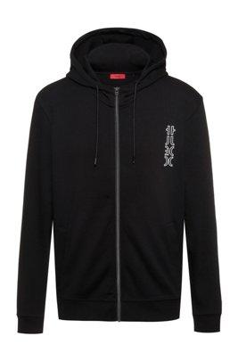 Cropped-logo zip-up hoodie in organic cotton, Black