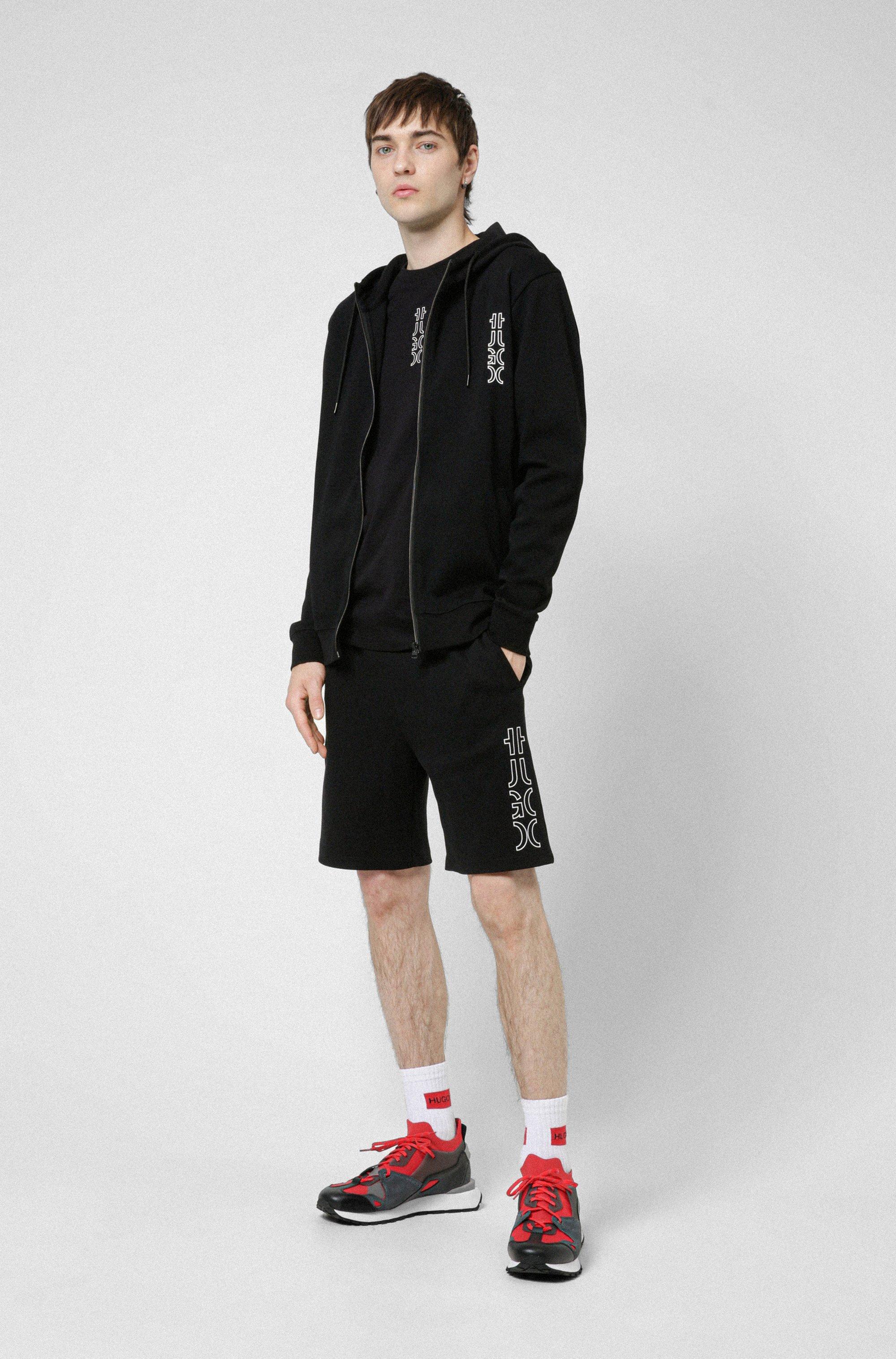 Cropped-logo zip-up hoodie in organic cotton