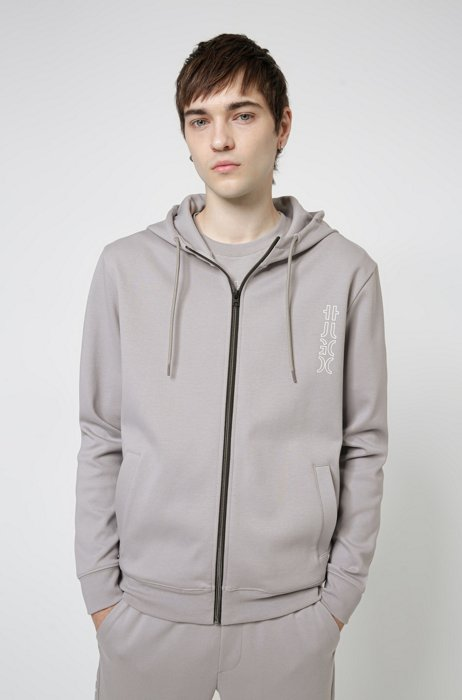 Cropped-logo zip-up hoodie in organic cotton, Silver