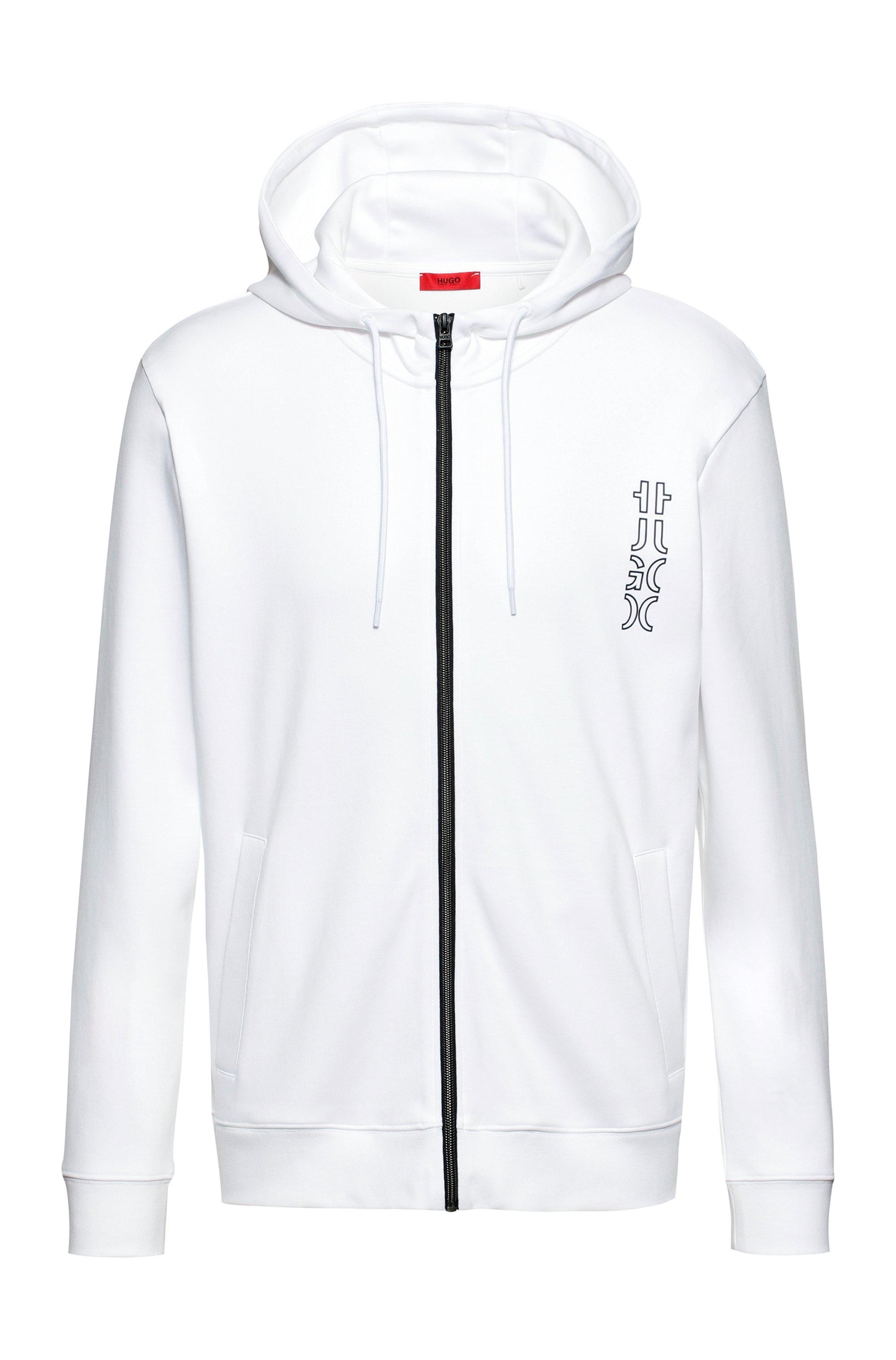 Sweat à capuche en coton biologique avec fermeture éclair et logos revisités, Blanc