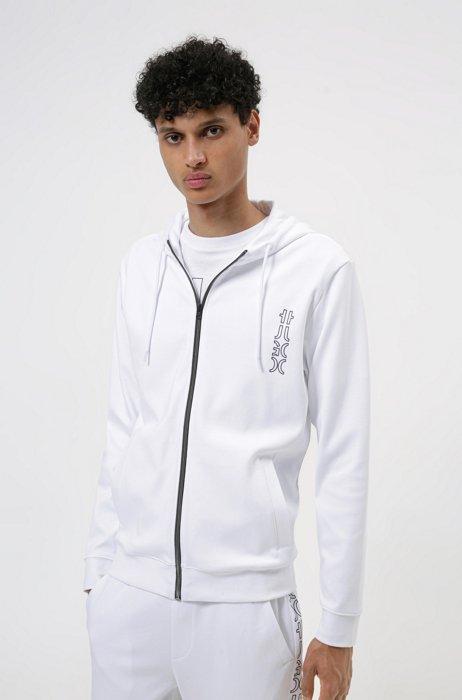 Cropped-logo zip-up hoodie in organic cotton, White
