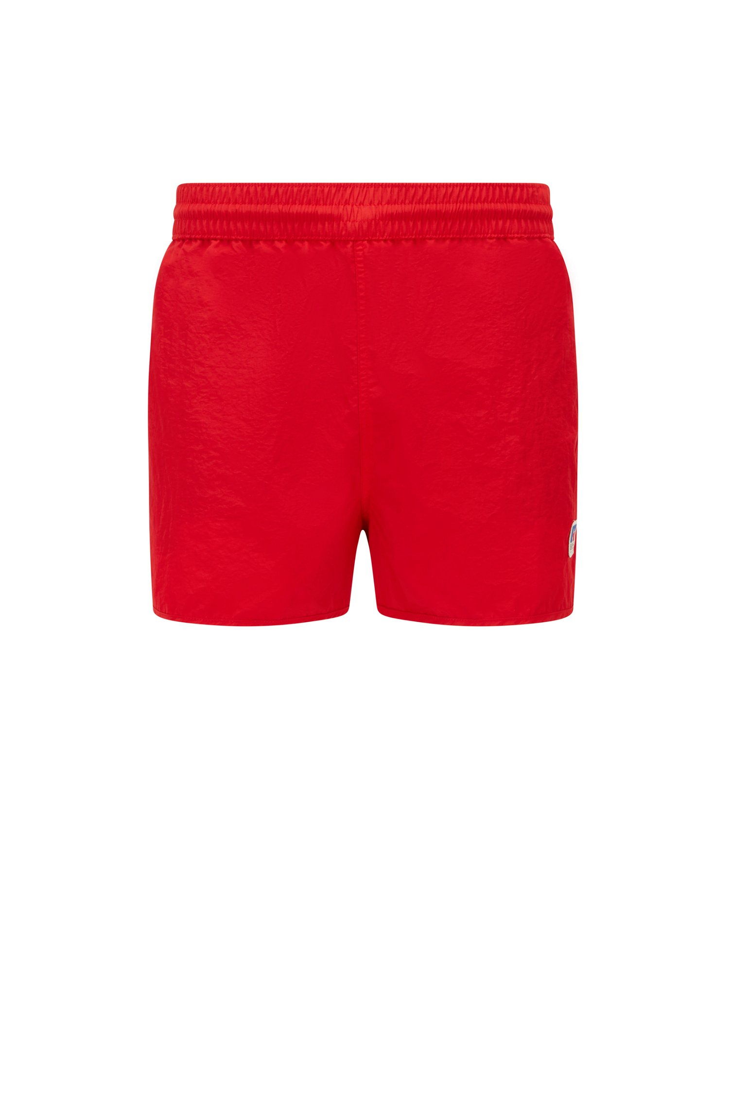Quick-dry short-length swim shorts with exclusive logo, Red