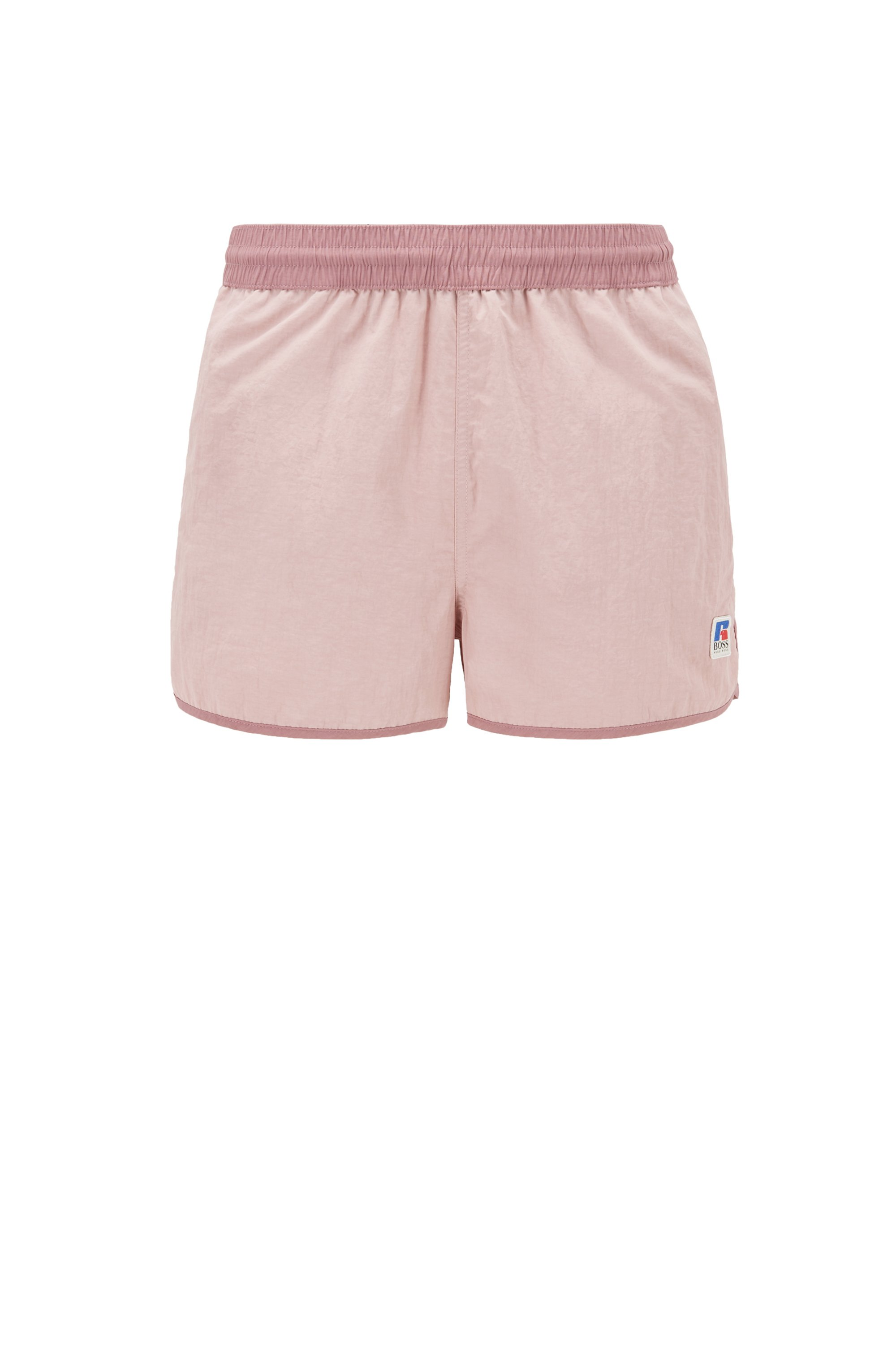 Quick-dry short-length swim shorts with exclusive logo, light pink