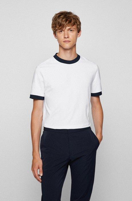 Regular-fit T-shirt van vochtafvoerend stretchkatoen, Wit