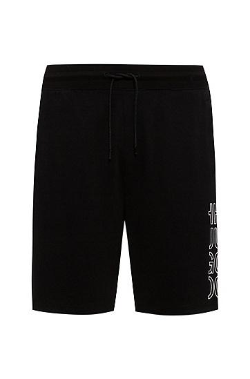 裁切徽标图案短裤,  001_Black