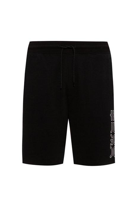 Organic-cotton shorts with cropped logo, Black