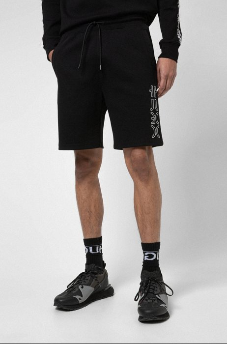 Shorts aus Bio-Baumwolle mit abgeschnittenem Logo, Schwarz