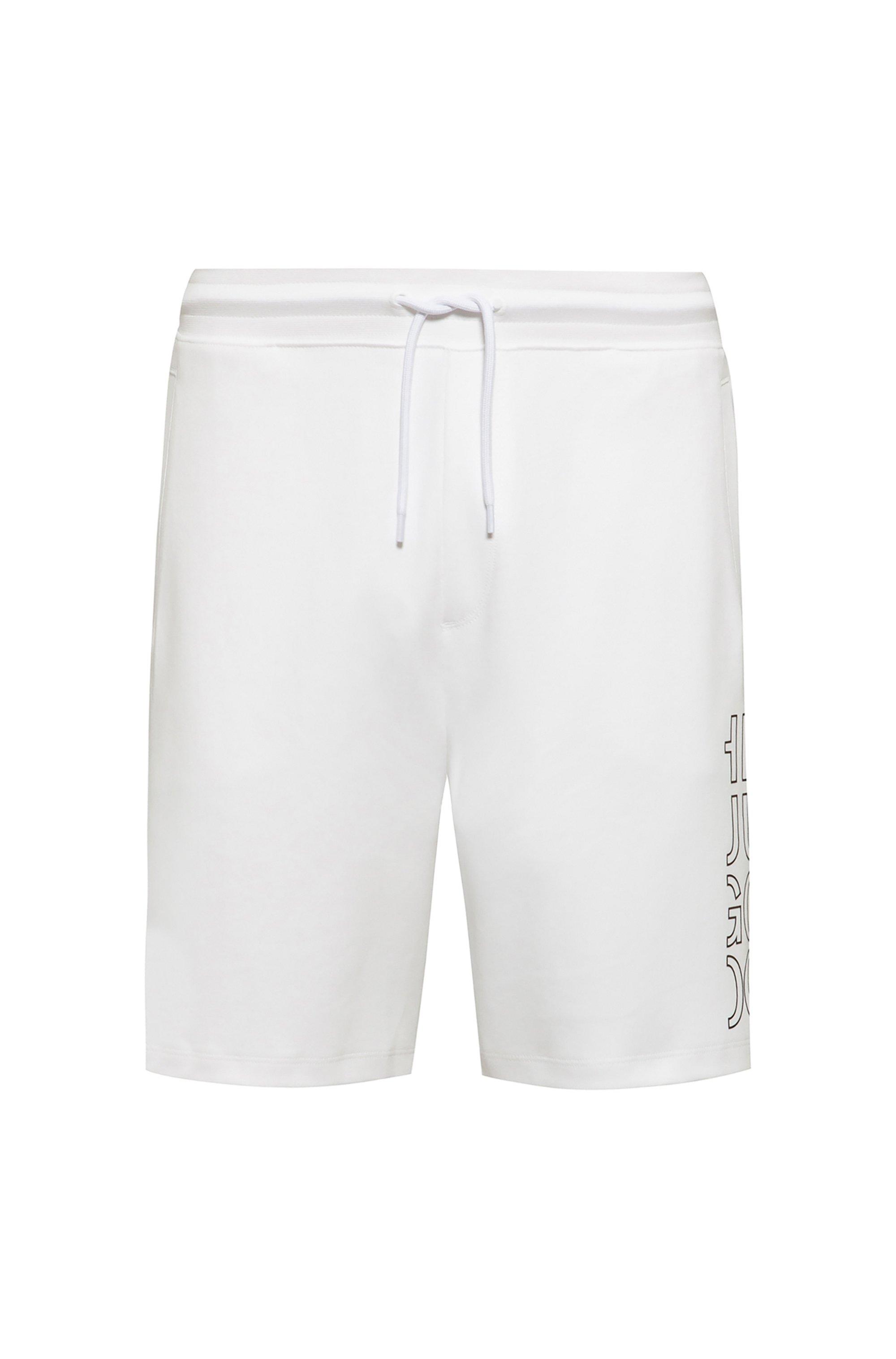Short en coton biologique à logo revisité, Blanc