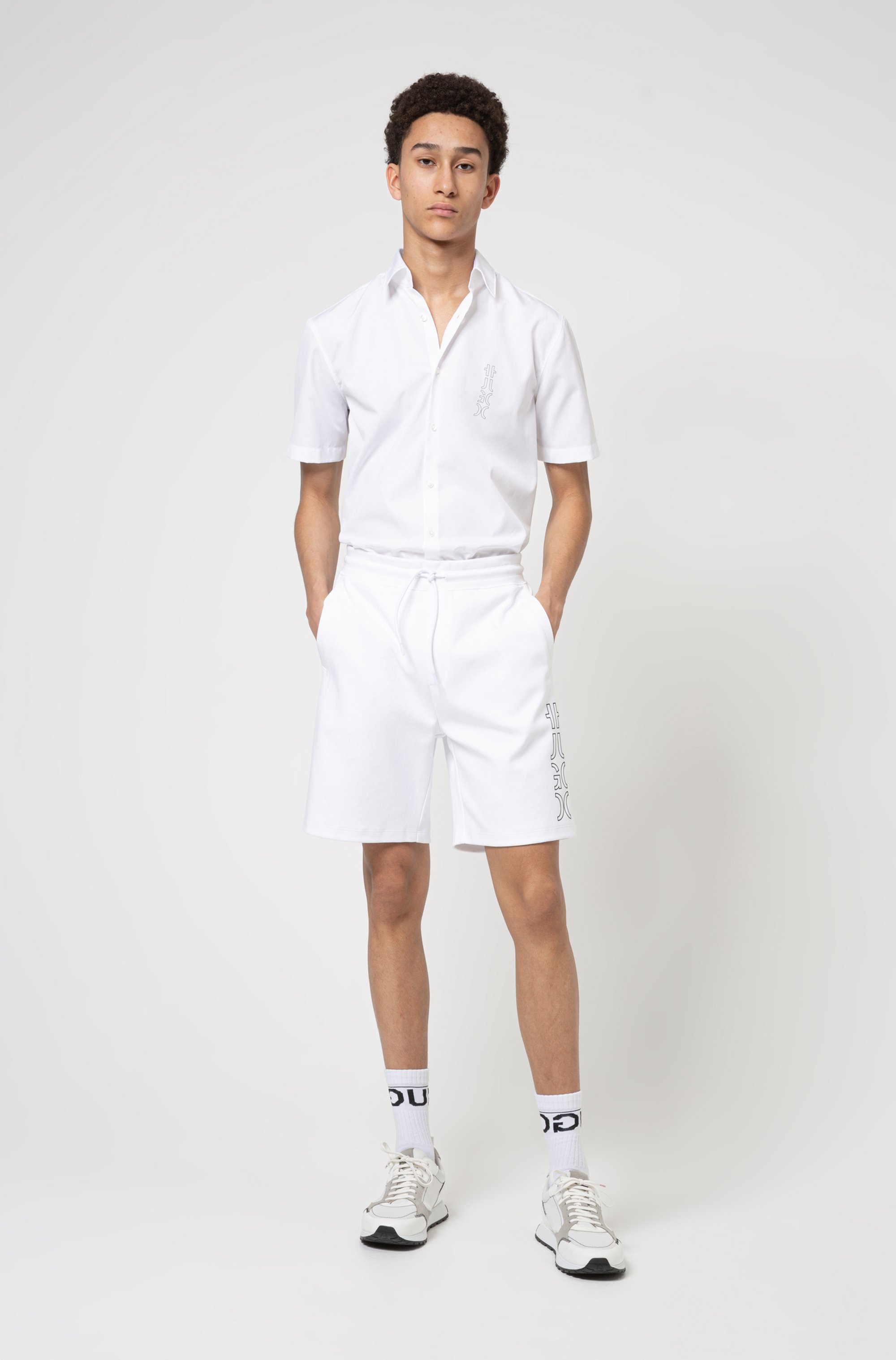 Organic-cotton shorts with cropped logo