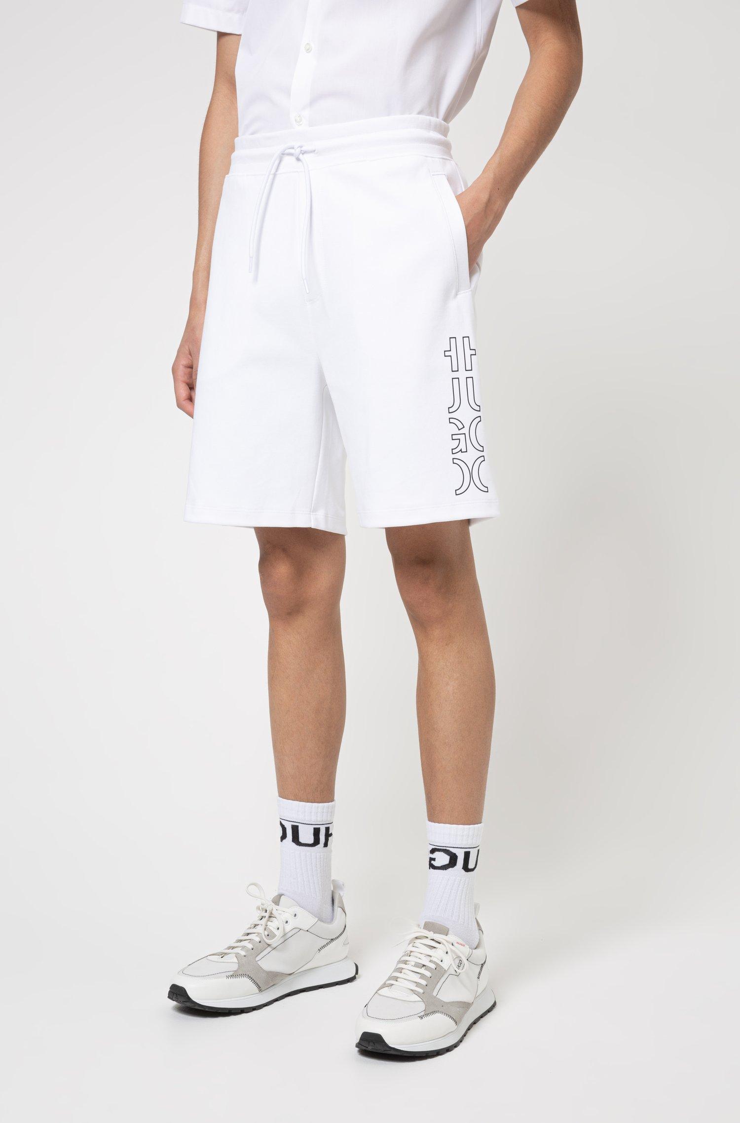 Organic-cotton shorts with cropped logo, White