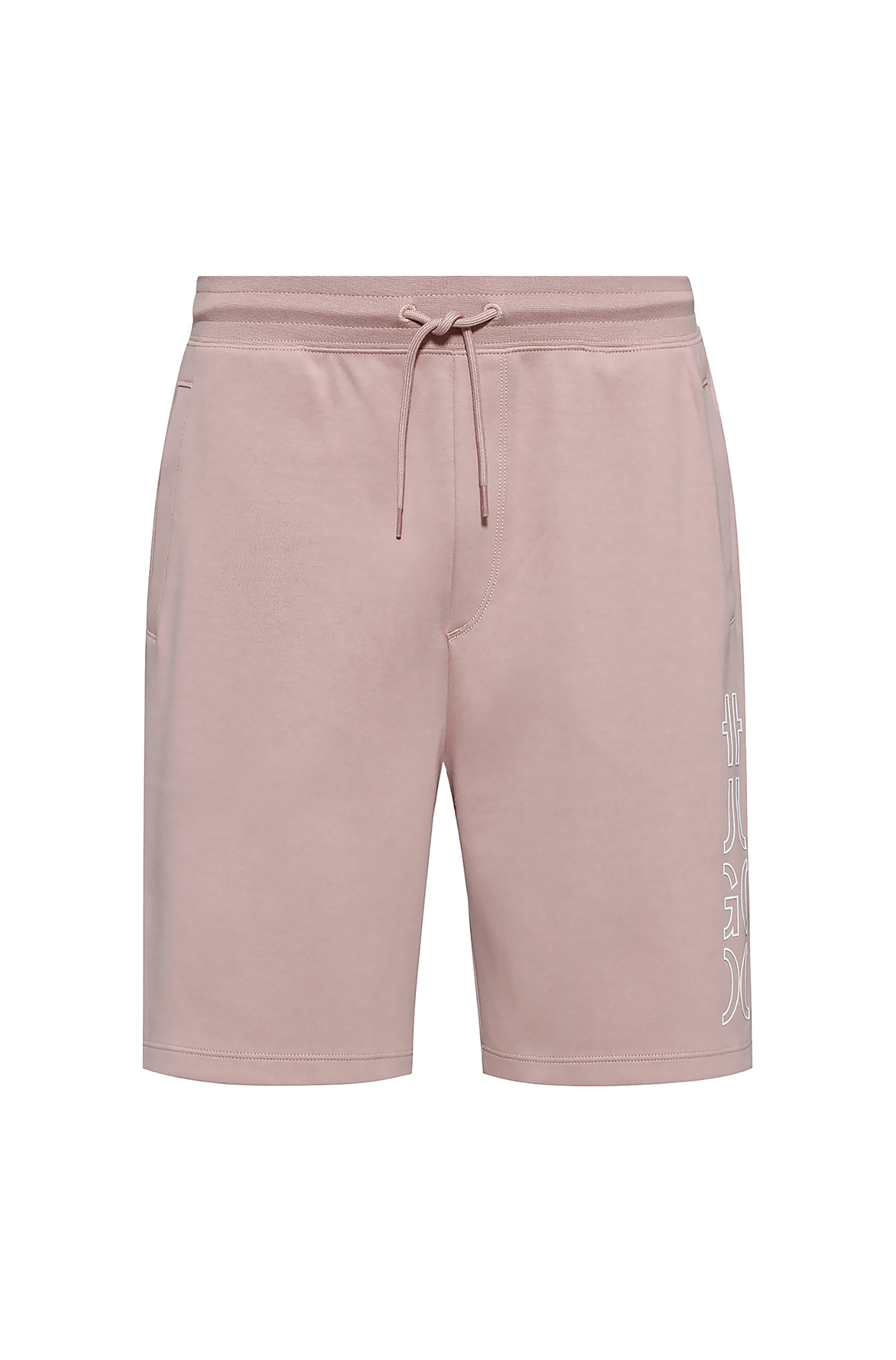Organic-cotton shorts with cropped logo, light pink