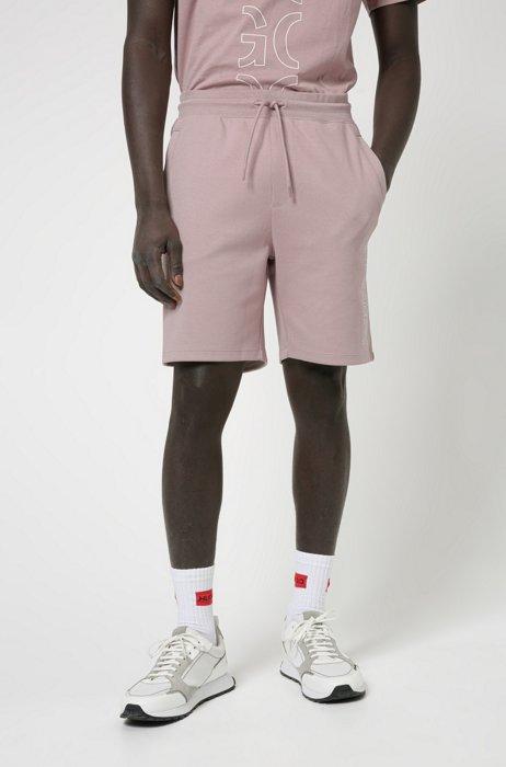 Shorts aus Bio-Baumwolle mit abgeschnittenem Logo, Hellrosa