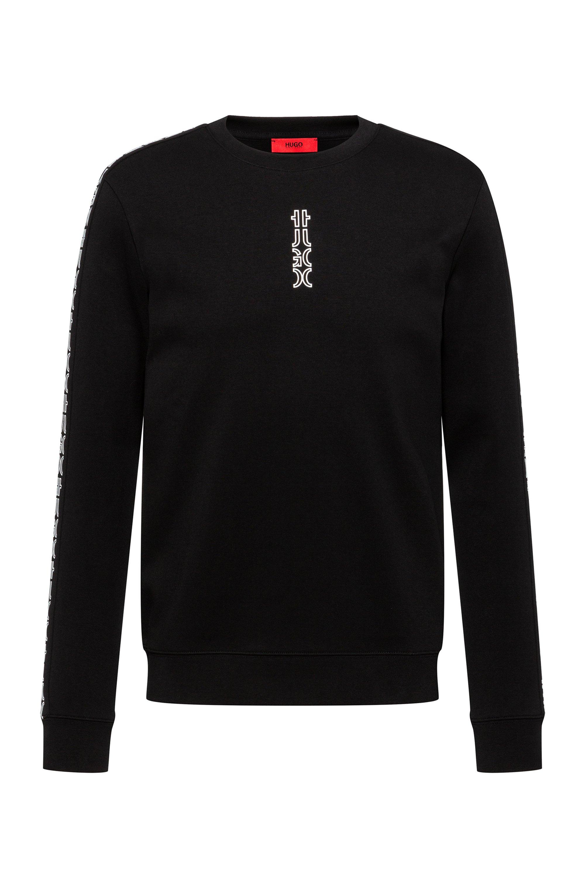 Crew-neck sweatshirt in organic cotton with cropped logos, Black