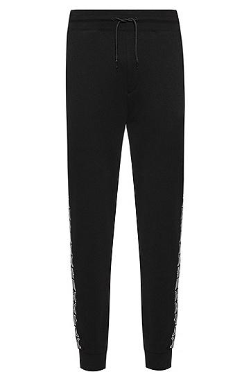 裁切徽标图案运动裤,  001_Black