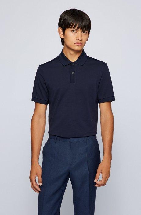 Regular-fit polo shirt in moisture-wicking cotton piqué, Dark Blue