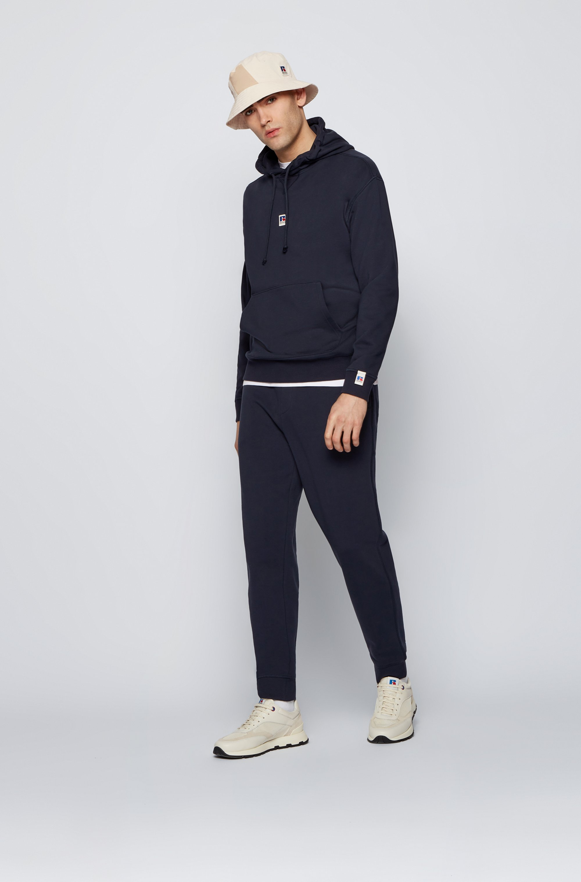 Cuffed tracksuit bottoms in organic cotton with exclusive logo