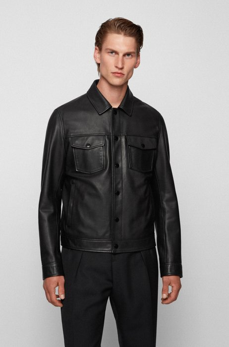 Trucker-style leather jacket with detachable lining, Black