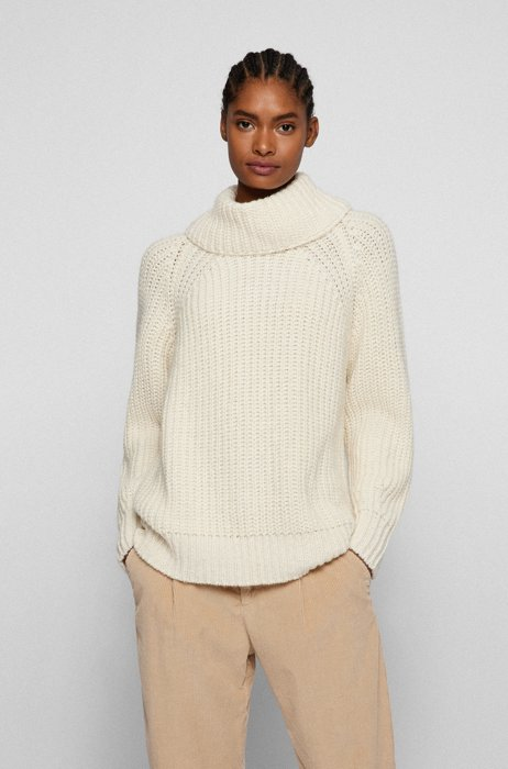Relaxed-fit rollneck sweater with chunky rib, White