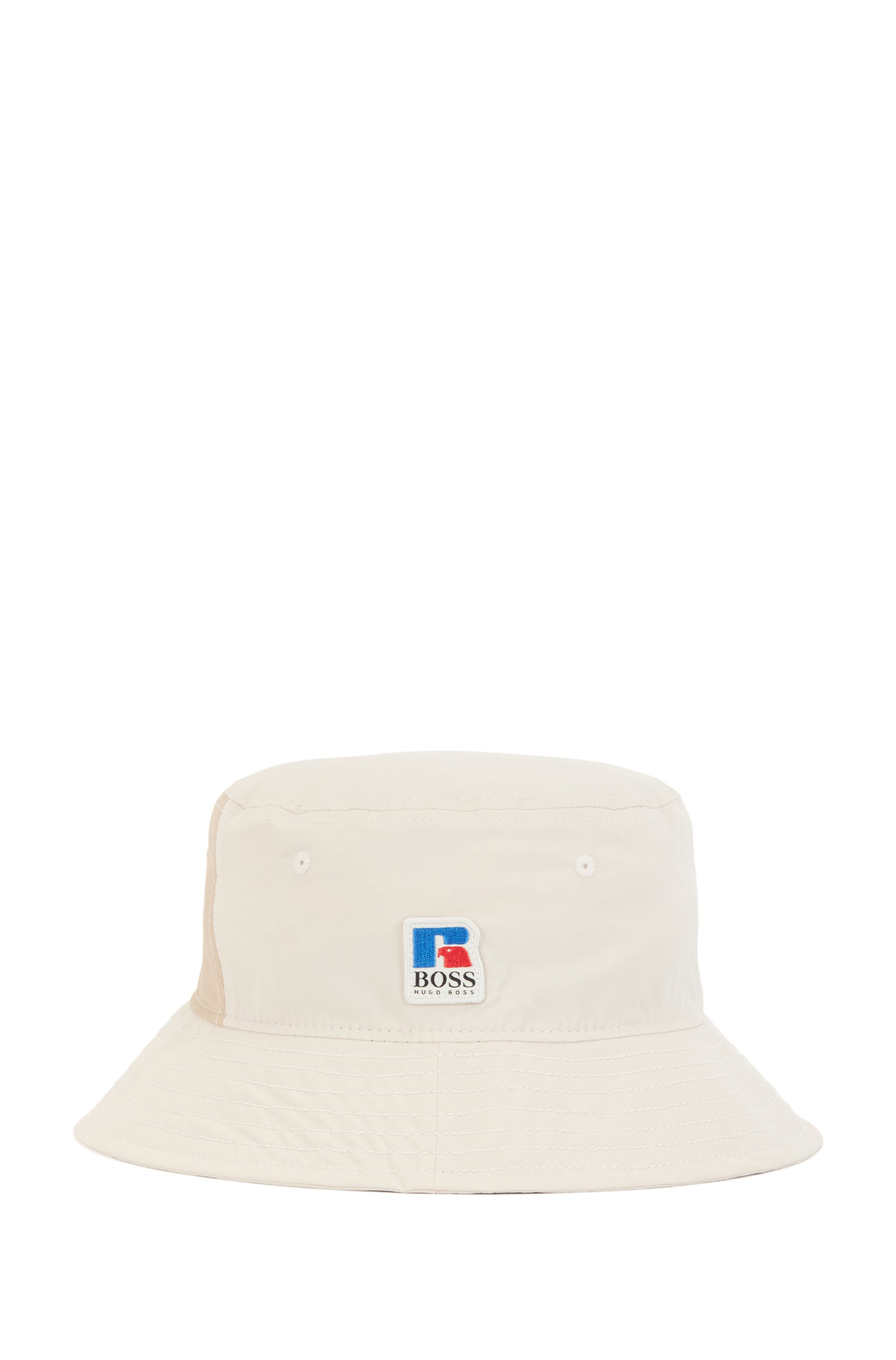 Trilby hat in coated cotton with exclusive logo, Light Beige