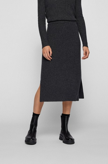 Slim-fit skirt in ribbed virgin wool and cashmere, Dark Grey