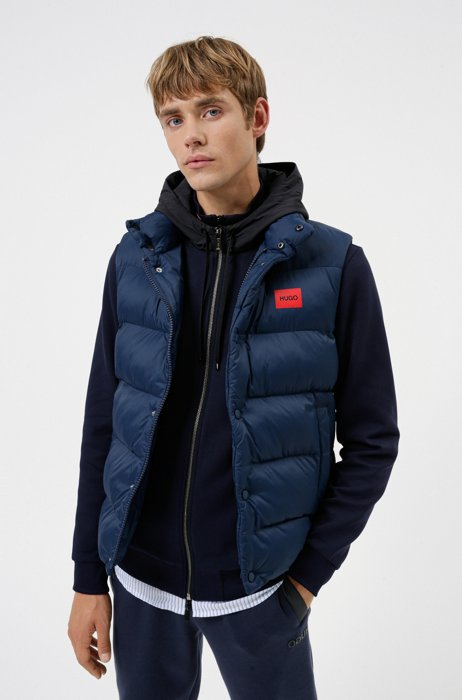 Water-repellent gilet in recycled fabric with logo label, Dark Blue