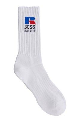 Chaussettes mi-mollet en tissu stretch avec logo exclusif, Blanc