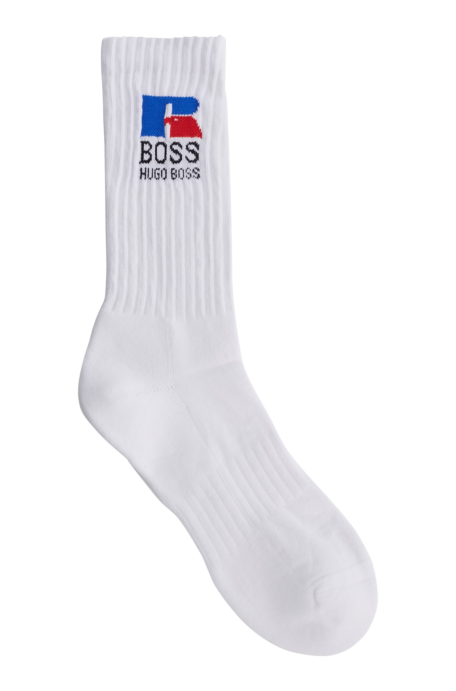 Quarter-length socks in stretch fabric with exclusive logo, White