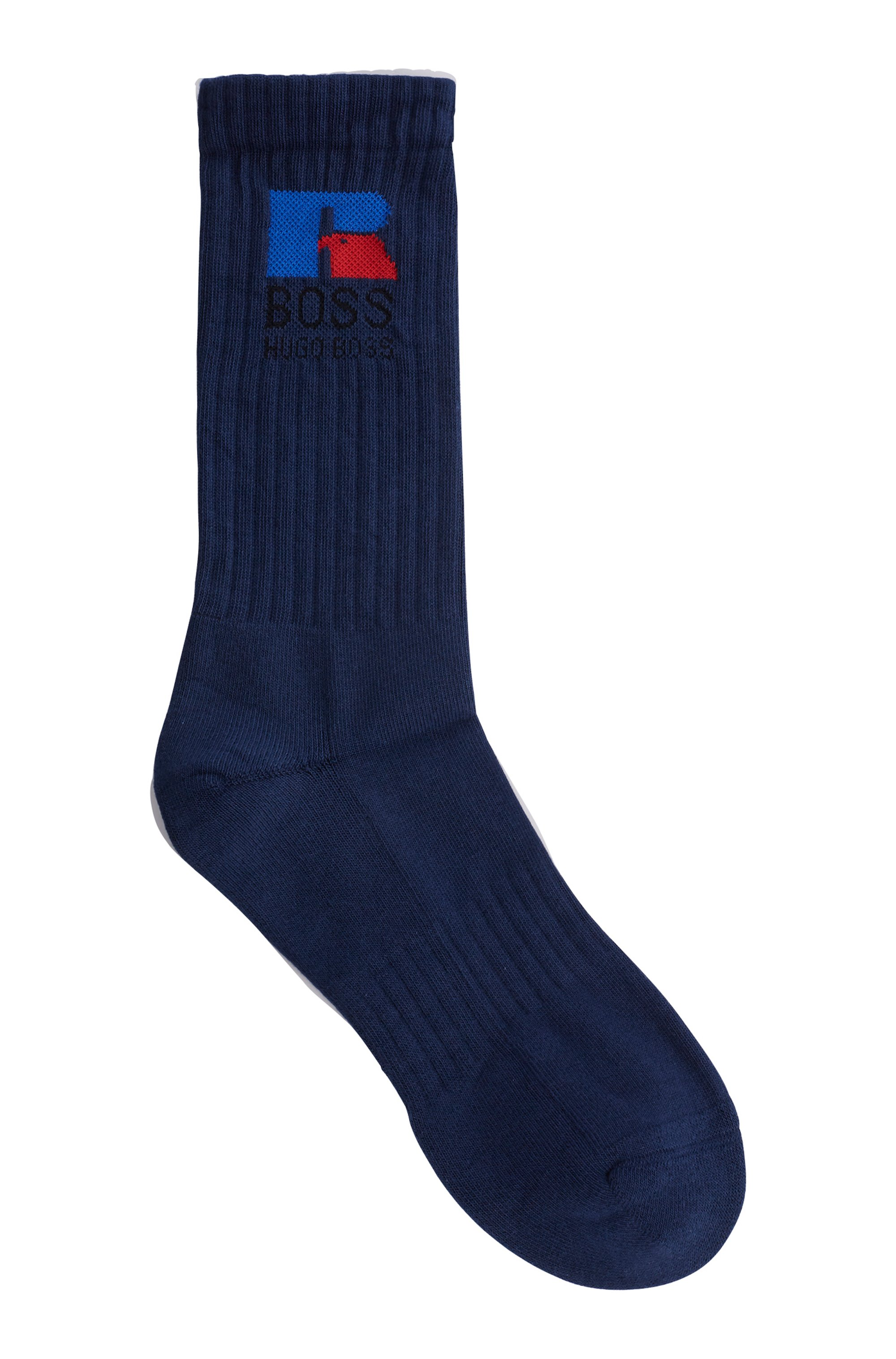 Chaussettes mi-mollet en tissu stretch avec logo exclusif, Bleu foncé