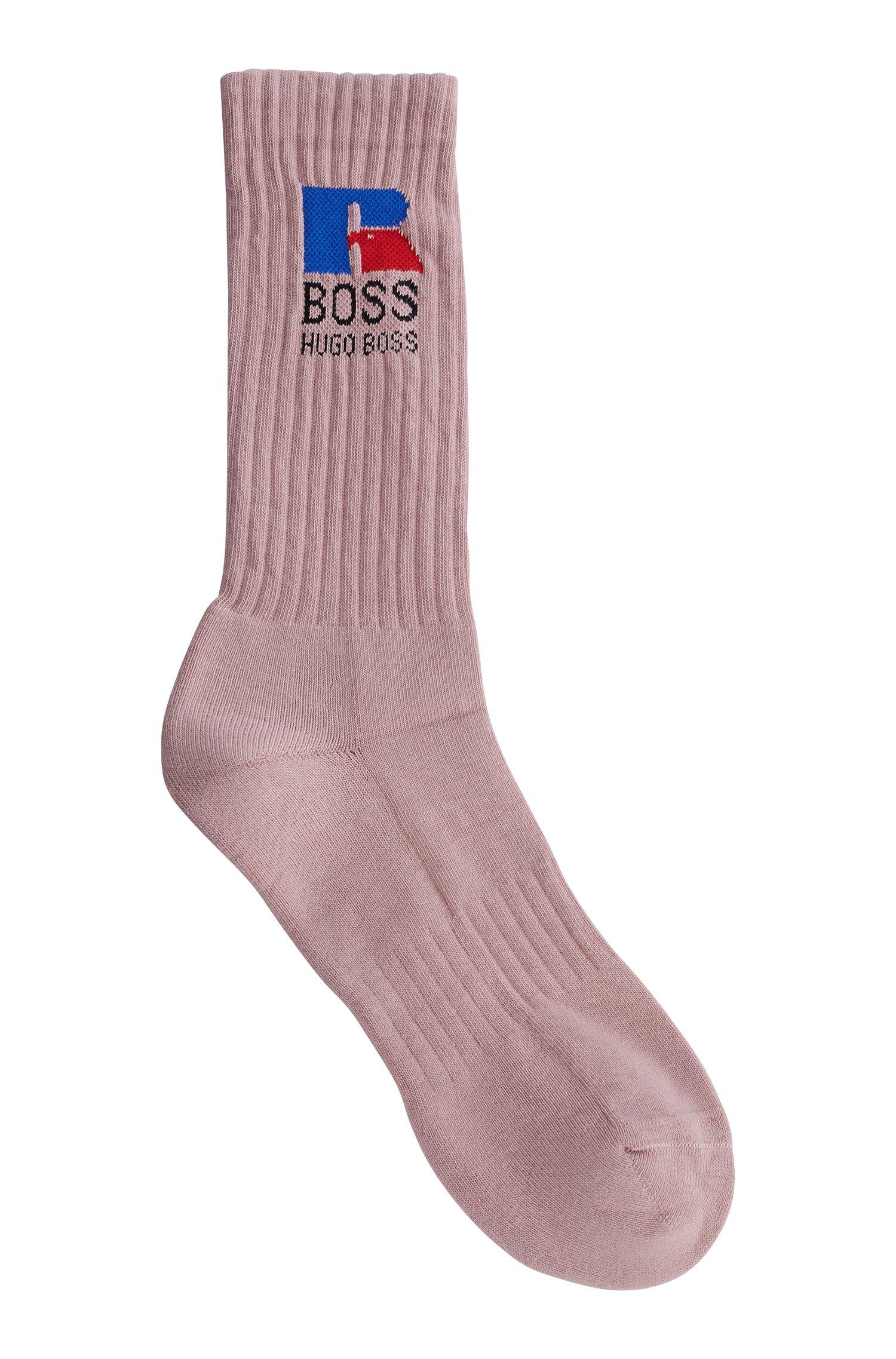 Kurze Socken aus Stretch-Gewebe mit exklusivem Logo, Hellrosa