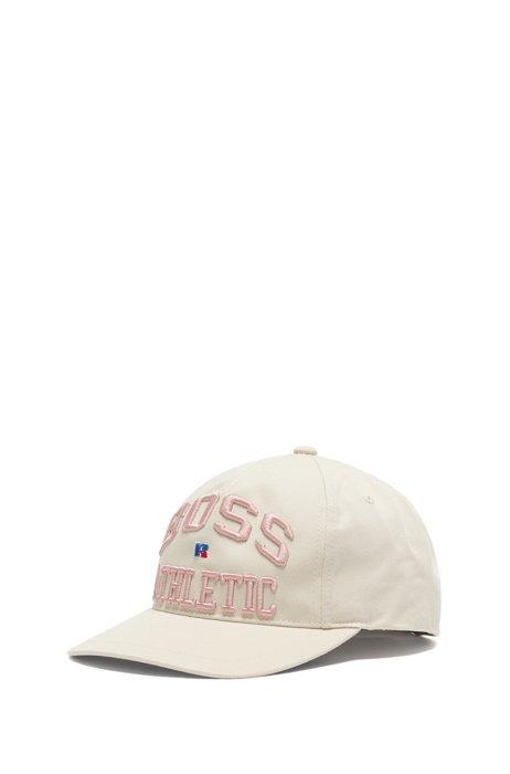 Gorra de sarga de algodón con logo bordado exclusivo, Beige claro