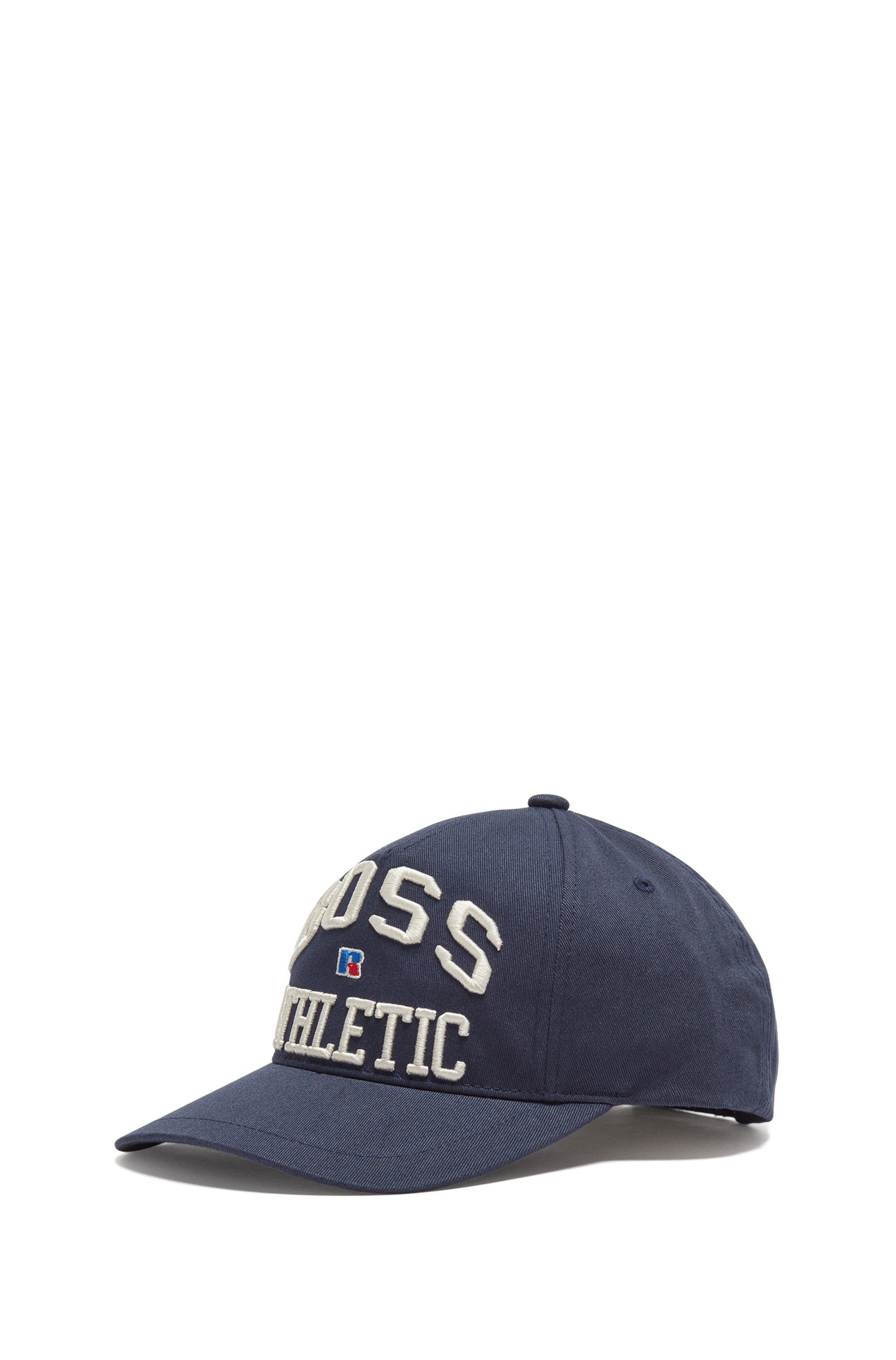 Gorra de sarga de algodón con logo bordado exclusivo, Azul oscuro