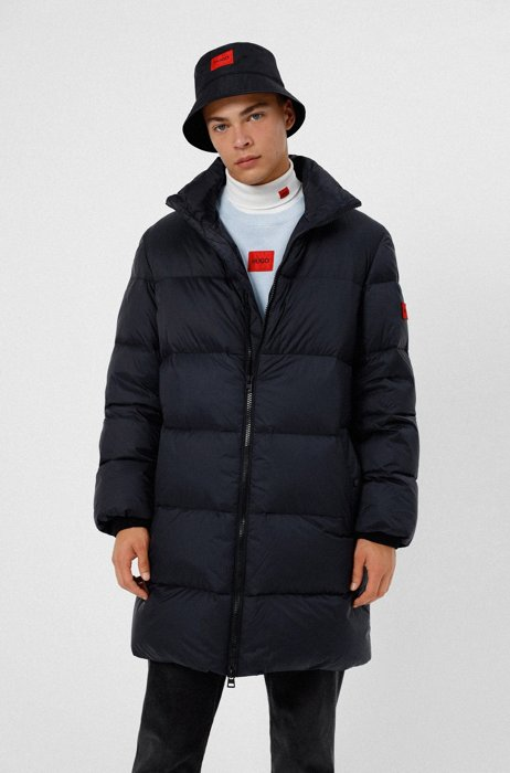 Regular-fit down coat with red logo label, Black