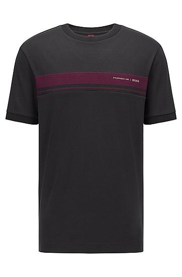胶囊系列徽标图案有机棉 T 恤,  001_Black