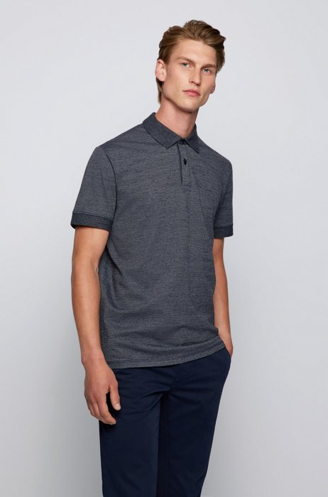 Relaxed-fit polo shirt with layered logo print, Dark Blue