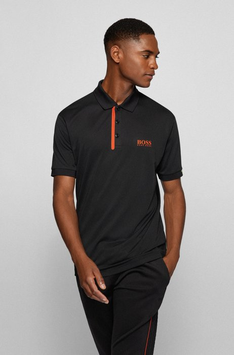 Slim-fit polo shirt with logos and contrast trims, Black