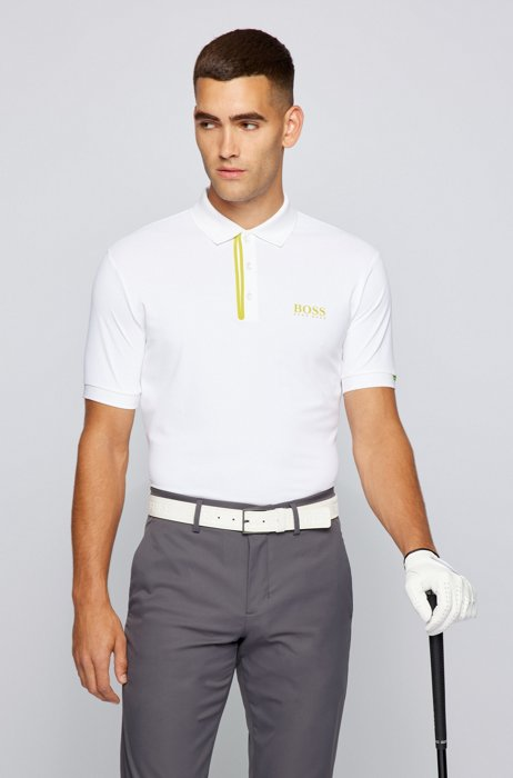 Slim-fit polo shirt with logos and contrast trims, White