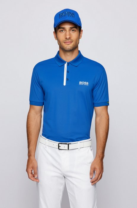 Slim-fit polo shirt with logos and contrast trims, Blue