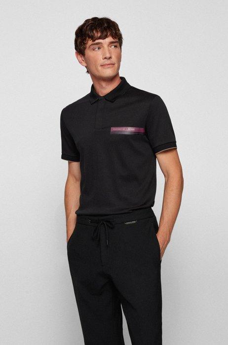 Slim-fit polo shirt in organic-cotton interlock, Black