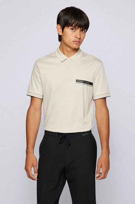 Slim-fit polo shirt in organic-cotton interlock, White