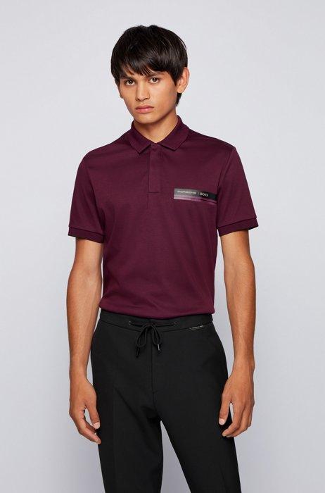 Slim-fit polo shirt in organic-cotton interlock, Purple