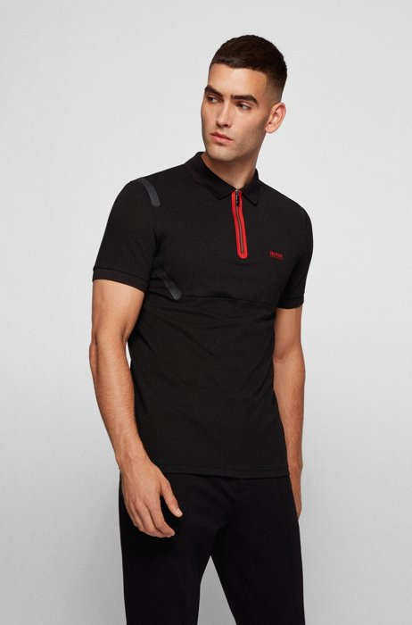 Slim-fit polo shirt in stretch pique with taped details, Black