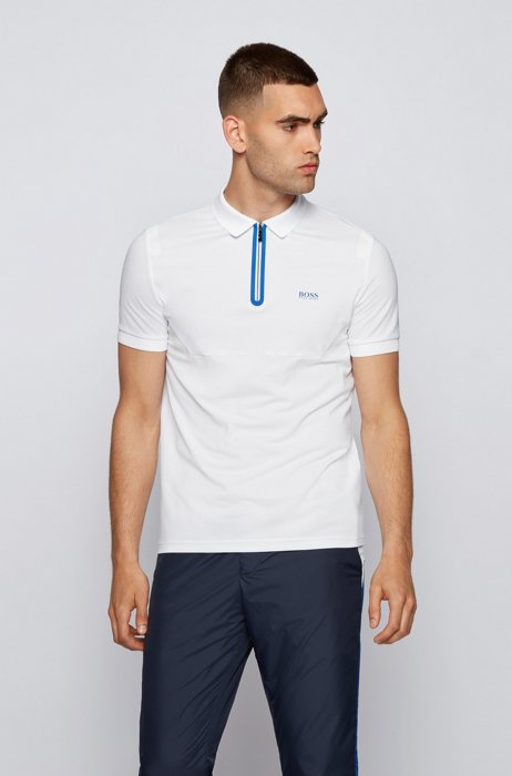 Slim-fit polo shirt in stretch pique with taped details, White