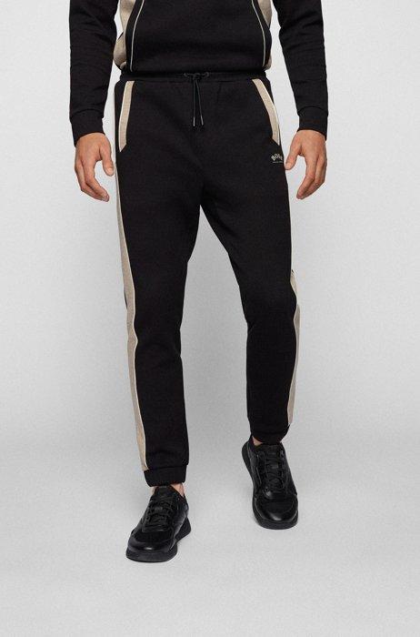 Cotton-blend tracksuit bottoms with colour-blocking, Black