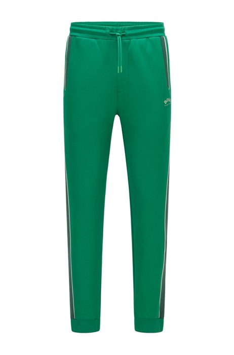 Cotton-blend tracksuit bottoms with colour-blocking, Green